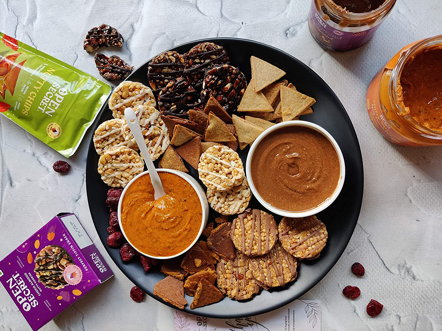 Cookies Chips spreads all in one plate